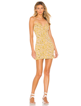 Aj Ruffle Cami Dress In Yellow Floral by Superdown