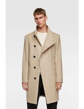 Asymmetrical Collar Coat Outerwearman by Zara