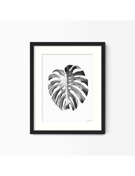 Black And White Monstera Leaf Print, Framed Palm Leaf Print, Botanical Wall Art Prints, Framed Tropical Wall Art by Etsy