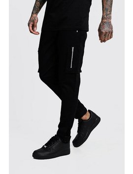Slim Fit Cargo Pants With Velcro Cuff by Boohoo