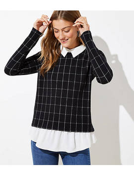 Windowpane Collared Mixed Media Top by Loft