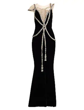Embellished Illusion Velvet Gown by Marchesa