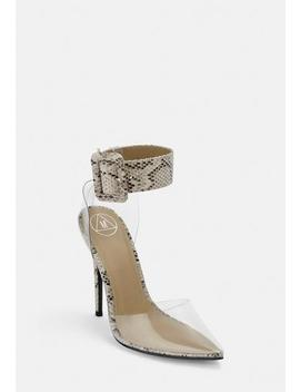 grey-snake-print-ankle-buckle-clear-court-heels by missguided