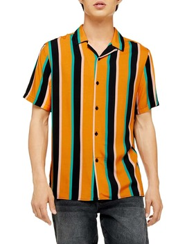 Slim Fit Stripe Short Sleeve Button Up Camp Shirt by Topman