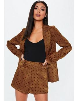 Rust Polka Dot Satin Lace Up Co Ord Shorts by Missguided