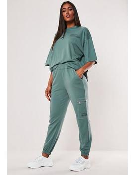 Teal Mg Slogan Pocket Detail High Waist Joggers by Missguided