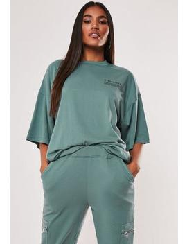 Teal Mg Slogan Drop Shoulder Oversized T Shirt by Missguided