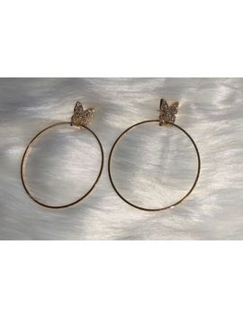 """2"""" Gold Plated Hoop Butterfly Crystal Earrings by Unbranded"""