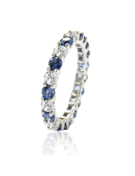 Suzy Levian Sterling Silver Blue & White Sapphire & Diamond Accent Eternity Ring by Suzy Levian