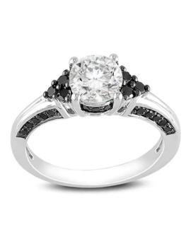 Miadora Sterling Silver 3/8ct Black Diamond And White Sapphire Ring by Miadora