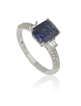Suzy Levian Sterling Silver Sapphire & Diamond Accent 3cttw Emerald Cut Bridal Ring by Suzy Levian