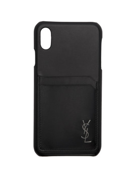Black Leather Monogramme I Phone Xs Max Case by Saint Laurent