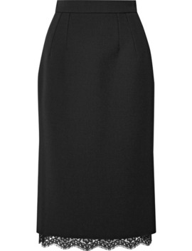 Lace Trimmed Cady Skirt by Dolce & Gabbana
