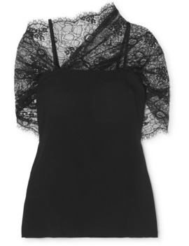 Cape Effect Lace And Georgette Top by Prada