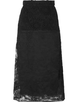 Paneled Lace Midi Skirt by Prada