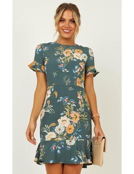 Keep It Calm Dress In Sage Floral by Showpo Fashion