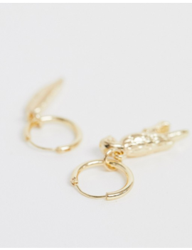 Asos Design Summer Charm Hoop Earrings In Gold by Asos Design