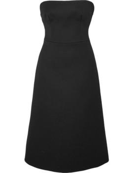 Strapless Wool Gabardine Midi Dress by Prada