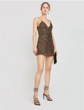 Glittered Checked Tweed Mini Dress by Balmain