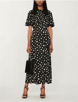Austin Polka Dot Print Crepe De Chine Midi Dress by Topshop