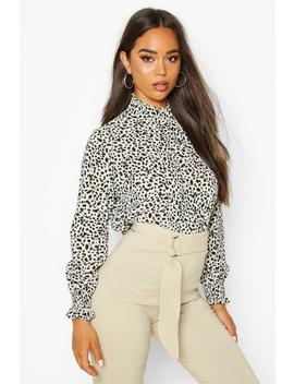 smudge-print-high-neck-sheered-blouse by boohoo