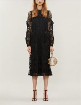 Ellie Embroidered Tulle And Lace Midi Dress by Needle And Thread