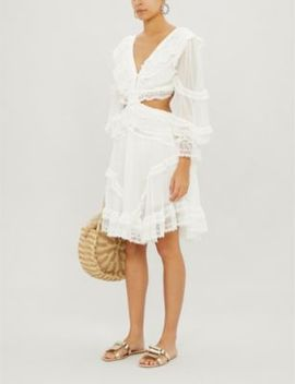 Suraya Cutout Lace Trimmed Flocked Silk Dress by Zimmermann