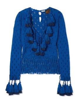 Tasseled Pointelle Knit Cotton Sweater by Loewe