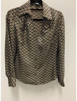 Classic! Ann Taylor Brown Chain Link 100% Silk Shirt Blouse Top 8 by Ann Taylor