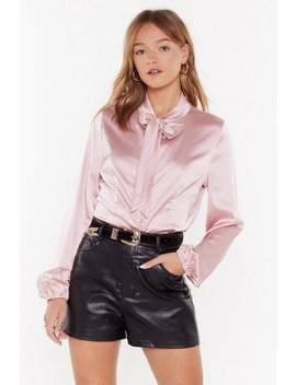 Never Let Me Bow Satin Blouse by Nasty Gal