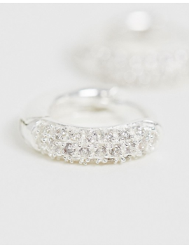 Asos Design Sterling Silver Hoop Earrings With Pave Crystals by Asos Design