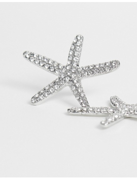 True Decadence Exclusive Silver Crystal Starfish Earrings by True Decadence