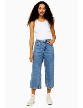 Petite Dirty Mid Blue Crop Jeans by Topshop