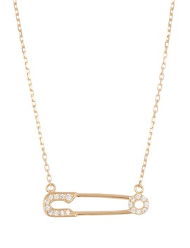 14 K Yellow Gold Plated Sterling Silver Pave Cz Safety Pin Pendant Necklace by Adornia