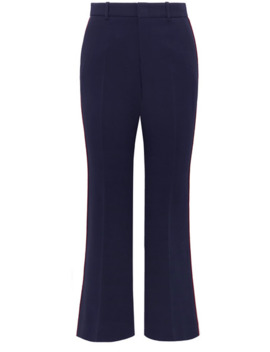 Grosgrain Trimmed Cady Wide Leg Pants by Gucci