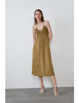 Satin Dress Midi Dresses Woman by Zara