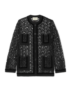 Velvet And Grosgrain Trimmed Macramé Lace Jacket by Gucci