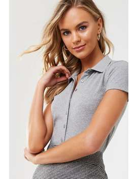 Ribbed Button Front Shirt by Forever 21