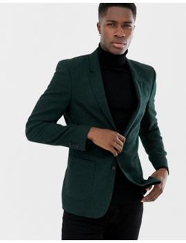 Asos Design Skinny Blazer In Green Wool Mix by Asos Design