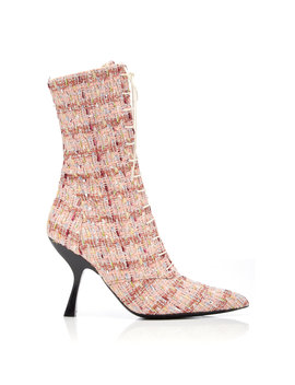Multi Colored Tweed Lace Up Boots by Brock Collection