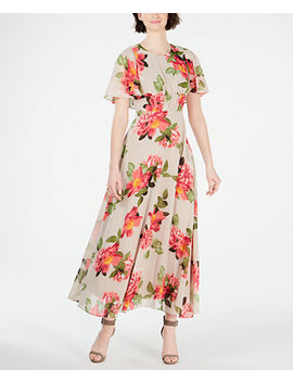 Floral Printed Capelet Maxi Dress by General