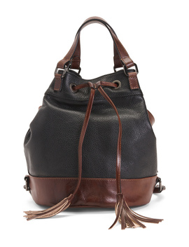 Made In Italy Leather Bucket Tote by Tj Maxx