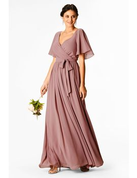 Flutter Sleeve Chiffon Surplice Maxi Dress by Eshakti