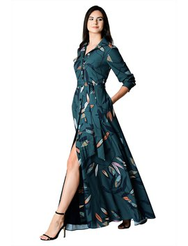 Leaf Print Sash Tie Crepe Maxi Shirtdress by Eshakti