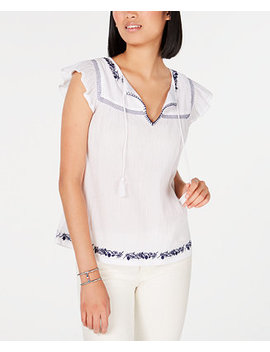 Embroidered Cotton Peasant Blouse, Created For Macy's by General