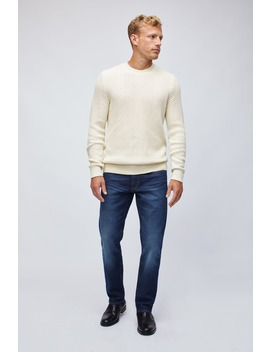Cotton Cashmere Cable Crew Neck Sweater by Bonobos