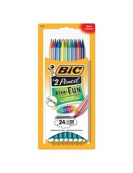 Bic® #2 Pencils With Stripes Xtra Fun, Break Resistant Lead, 24ct   Multicolor by Multicolor