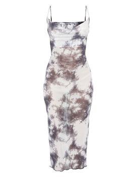 Grey Tie Dye Mesh Cowl Neck Midi Dress by Prettylittlething