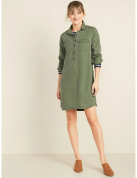Faded Twill Shirt Dress For Women by Old Navy