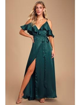 Moriah Emerald Green Satin Wrap Maxi Dress by Lulus